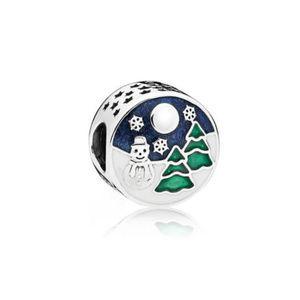 Pandora Snowy Wonderland Charm Blue & Green Enamel